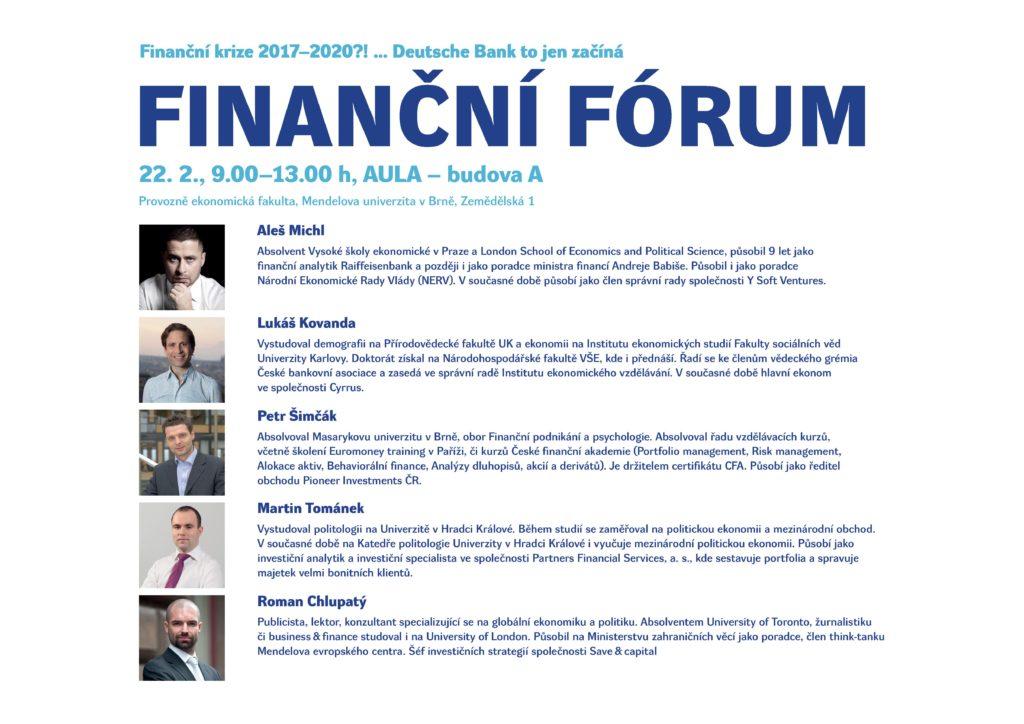Finanční forum 2017 PEF MENDELU - přednášející