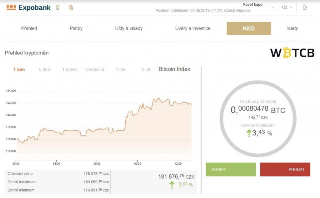 NEO účet od Expobank CZ - Bitcoin