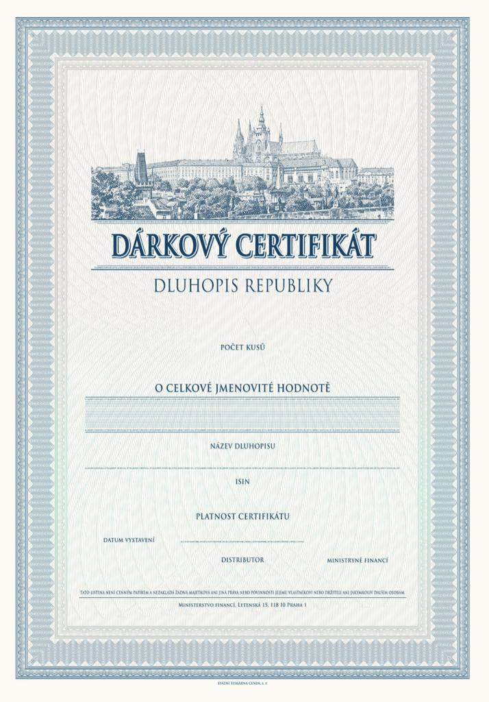 Dluhopis Republiky - dárkový certifikát